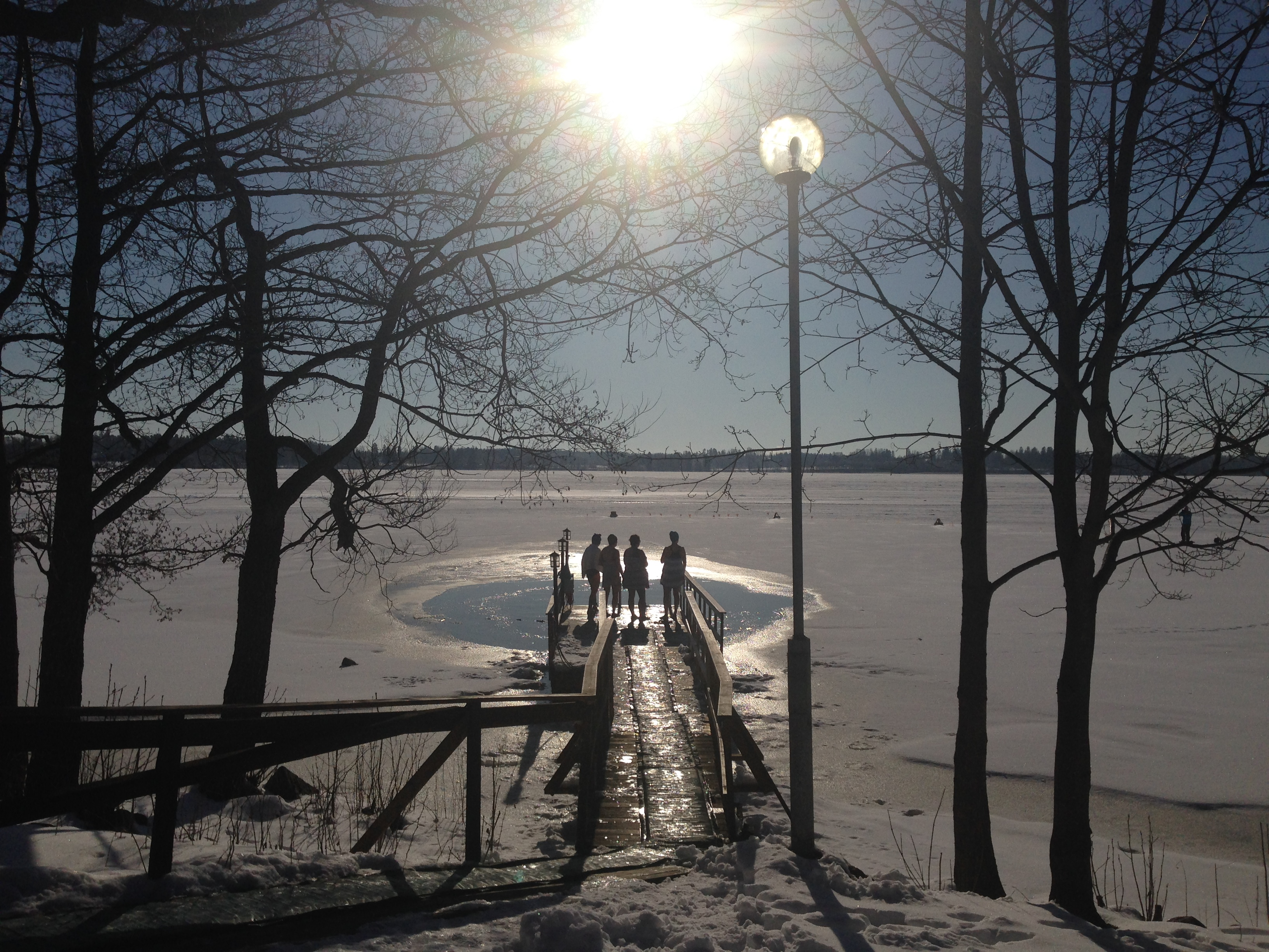 Ice, cold water, sun and friends - what more do you need? Lake Tuusula in Järvenpää.