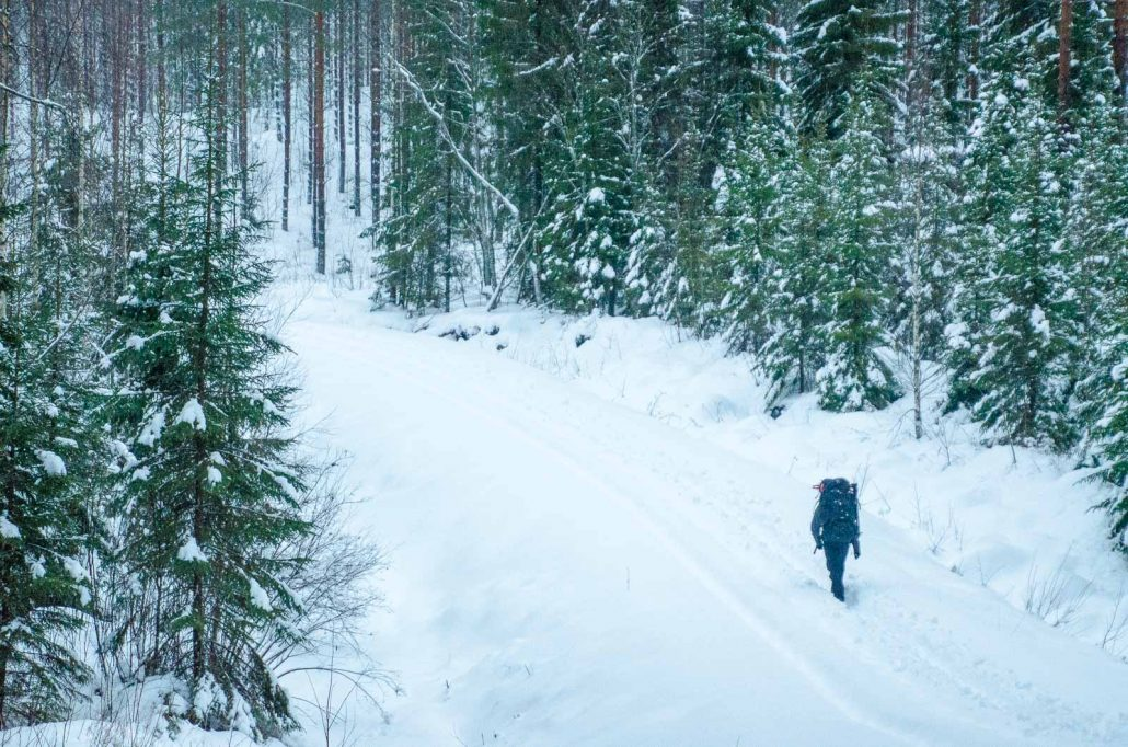 Hiker at Southern Konnevesi National Park, Central Finland. Photo:Upe Nykanen
